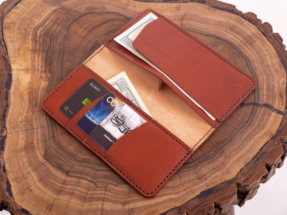 Brown Leather Checkbook Wallet With Credit Card Slots Italian Veg Tanned Business Check