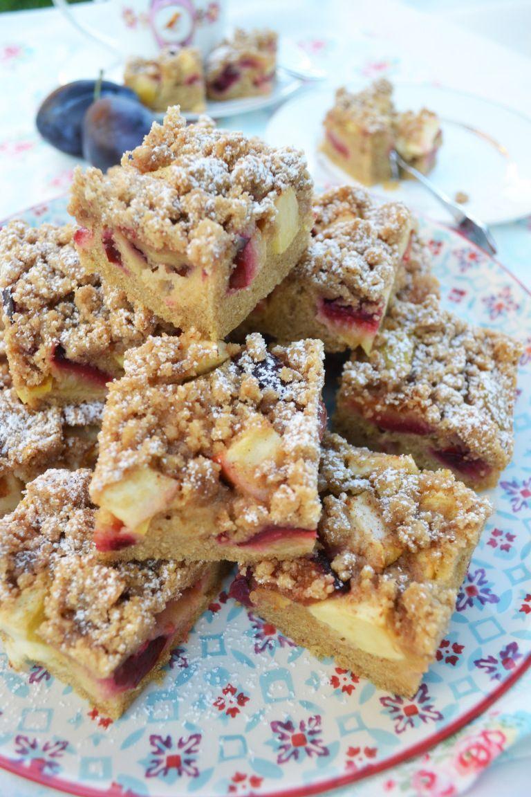 Herbstliches Kuchenglück! Zwetschken-Apfel-Kuchen mit Zimtstreusel #apfelmuffinsrezepte