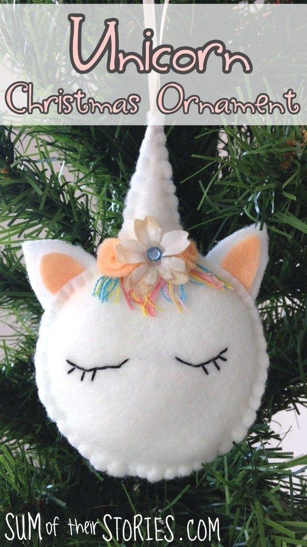 Tutorial and pattern: Felt unicorn Christmas ornament | Felt Crafts ...