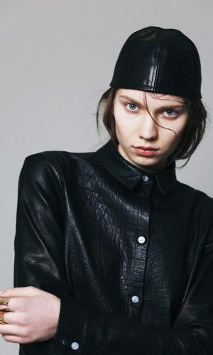 Claudia Ligari AW13  Black leather shirt and hood