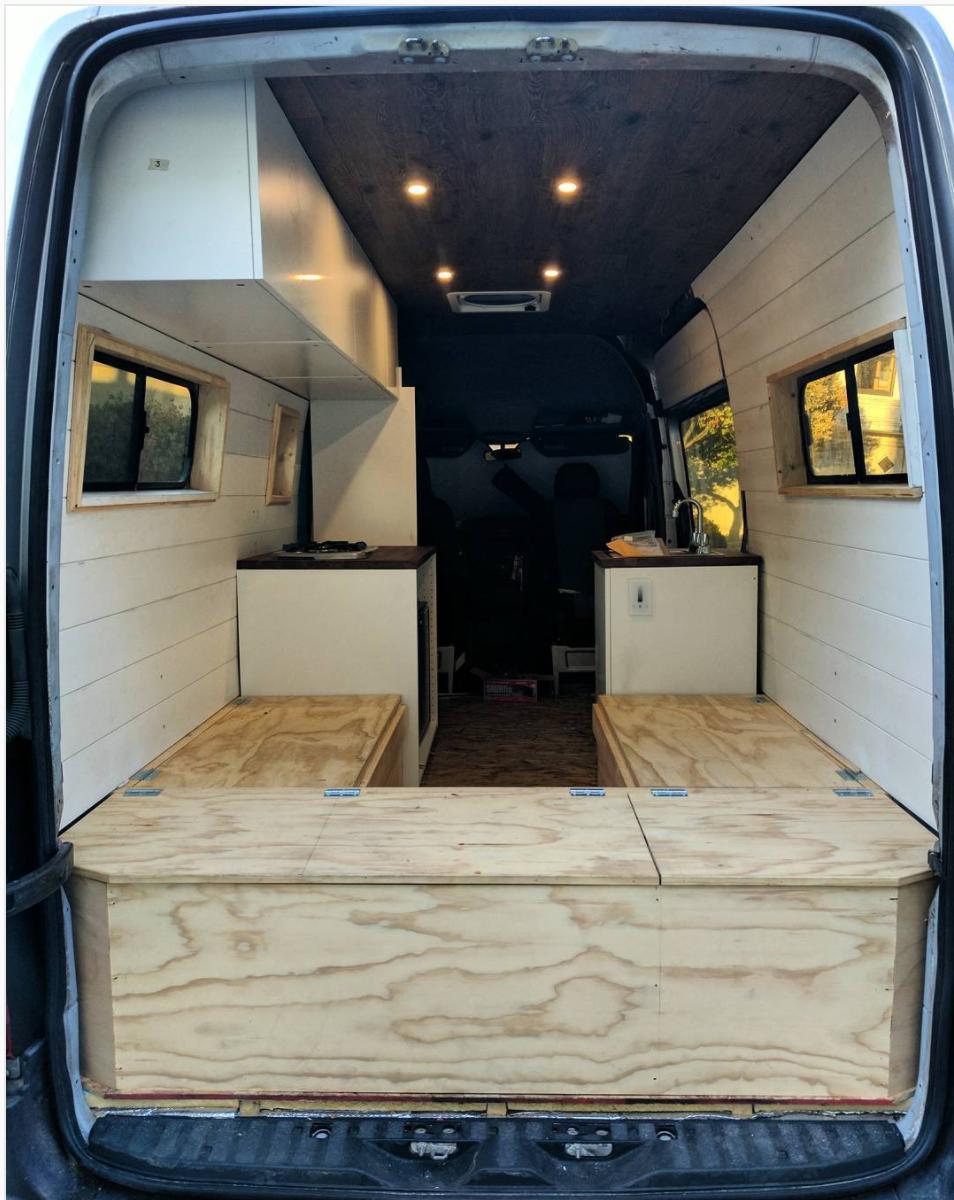 Sprinter 144 van build interior wood, white panel walls