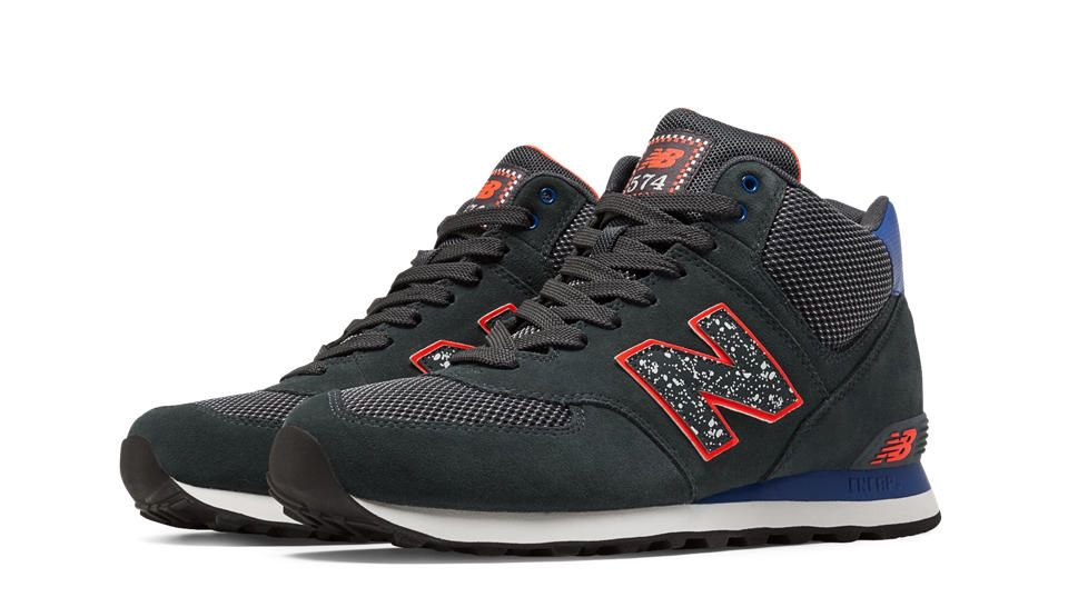 designer fashion 9881b 5867c New Balance 574 Outside In Mid-Cut, Dark Grey with Blue   Orange  84.99 he  men s 574 Outside In brings elements of extreme sports together in high  energy ...