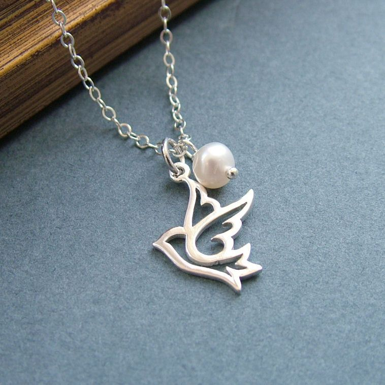 necklace sterling silver peace and pin dove freshwater turtle pendant pearl bird