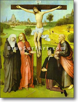 Christ on Cross with Donors and Saints - £124.99 : Canvas Art, Oil Painting Reproduction, Art Commission, Pop Art, Canvas Painting