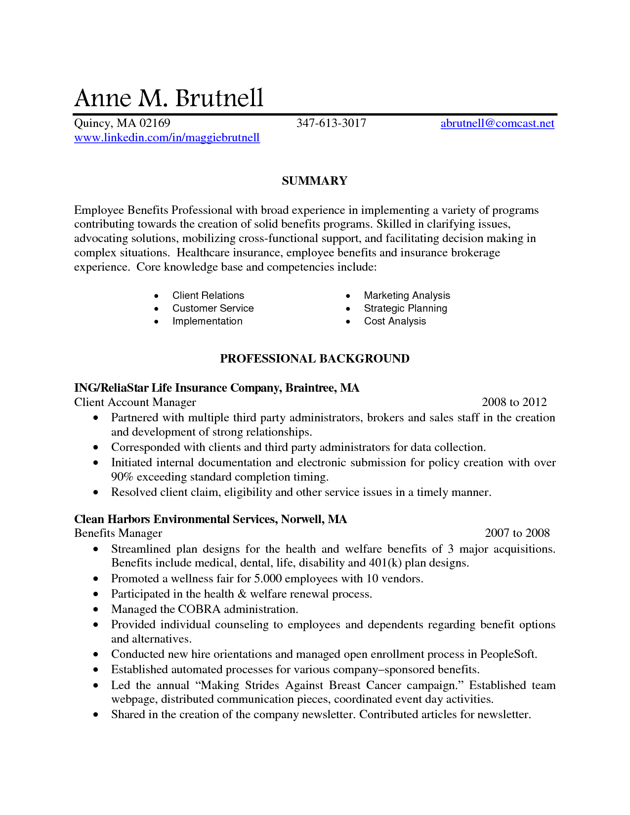 benefits account manager resume
