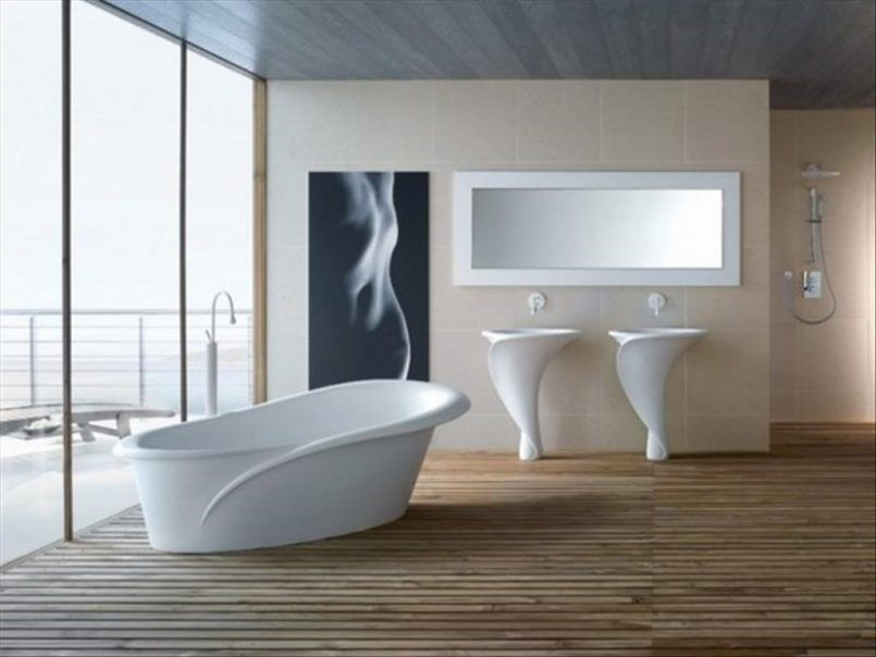 Bathroom Cone Modern Sink With Black Abstract