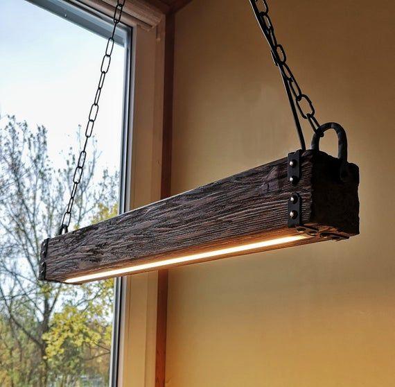 Wood Beam LED Pendant Light – Chandelier Wooden Chandelier Rustic Lighting Farmhouse Pendant Hanging Lamp Indoor Lighting Ceiling