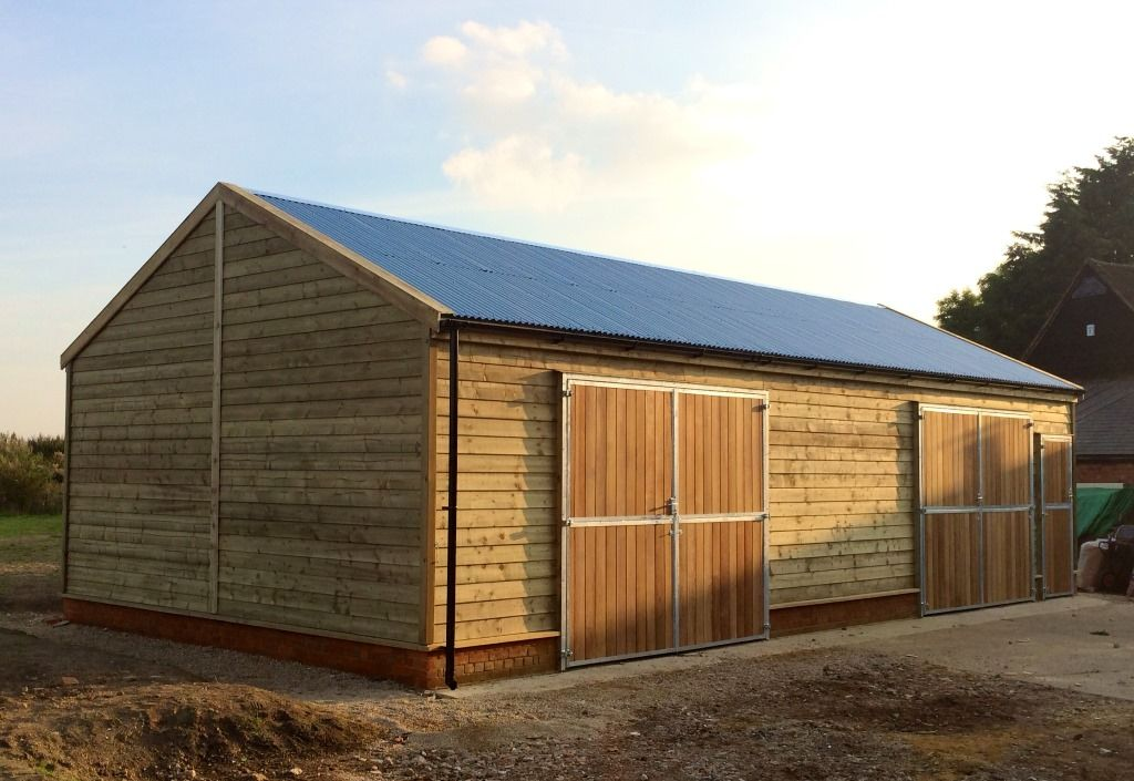 Garage 6 0m X 12 0m With Feather Edge Cladding Corrugated Metal Roofing Constructed On A Dwarf Wall Corrugated Metal Roof Metal Roof Metal Barn
