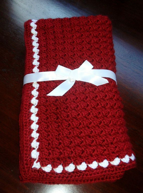 Handmade Crocheted Baby Blanket In Red And White Crochet