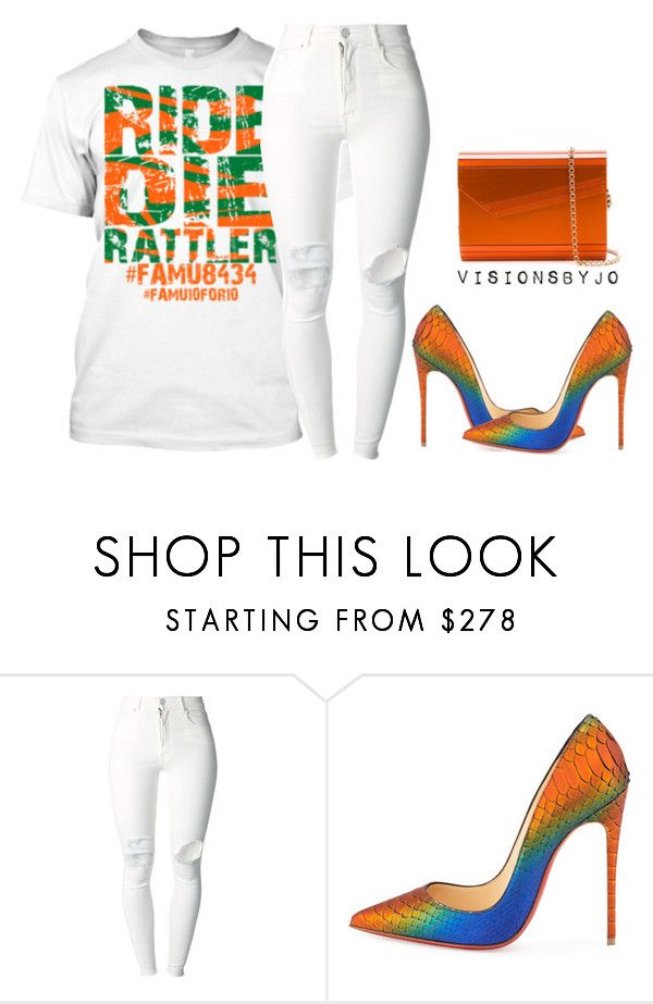 """""""Untitled #1295"""" by visionsbyjo ❤ liked on Polyvore featuring (+) PEOPLE, Christian Louboutin and Jimmy Choo"""