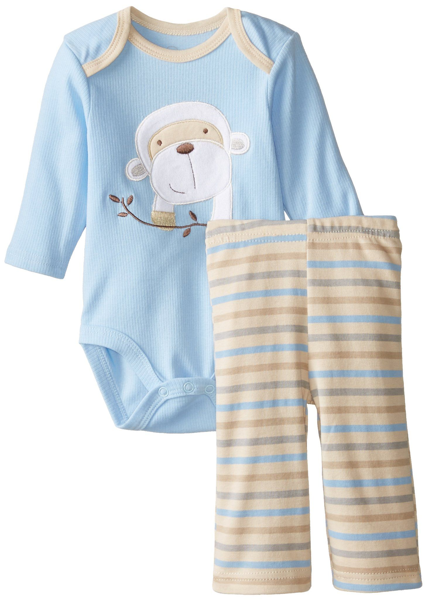 Rene Rofe Baby Baby Boys 2 Piece Monkey Pant Set With Bodysuit