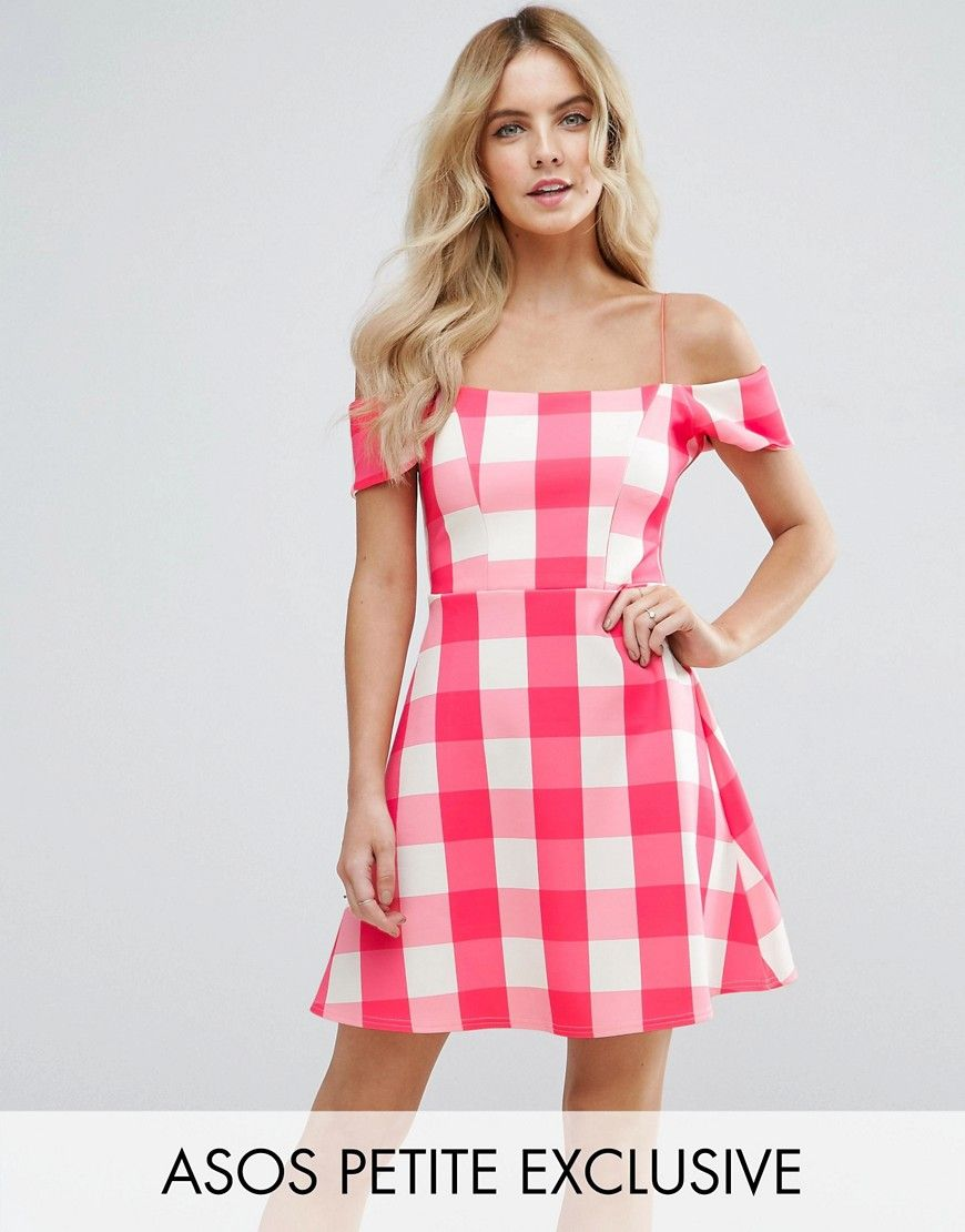 Buy it now. ASOS PETITE Off Shoulder Shift Dress in Pink Gingham ...