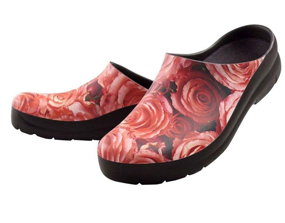 Jollys Roses Picture Clogs Womens Size 8 38 All Weather