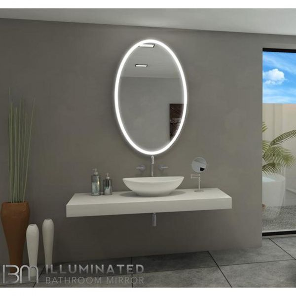 Galaxy Oval Illuminated Led Bathroom Mirror With Images Round