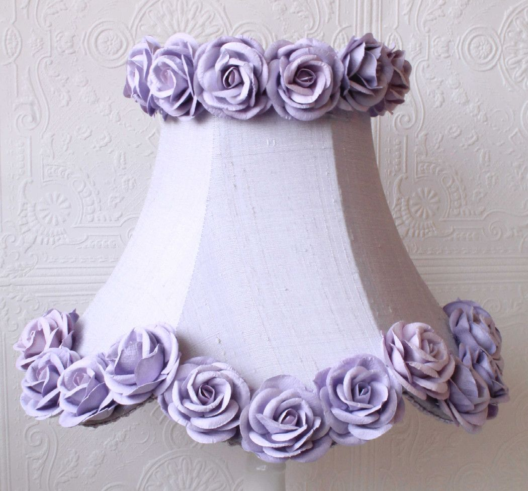 Lavender Dupioni Silk Lamp Shade With Roses Silk Lampshade Diy Lamp Shade Lavender Lamp Shade