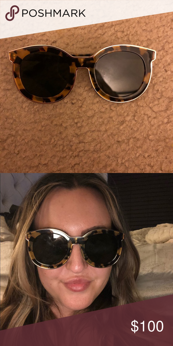 47e4bbc01020 KAREN WALKER Super Spaceship sunglasses Worn only three times and in  excellent condition. Tortoiseshell frame with flat black lens.