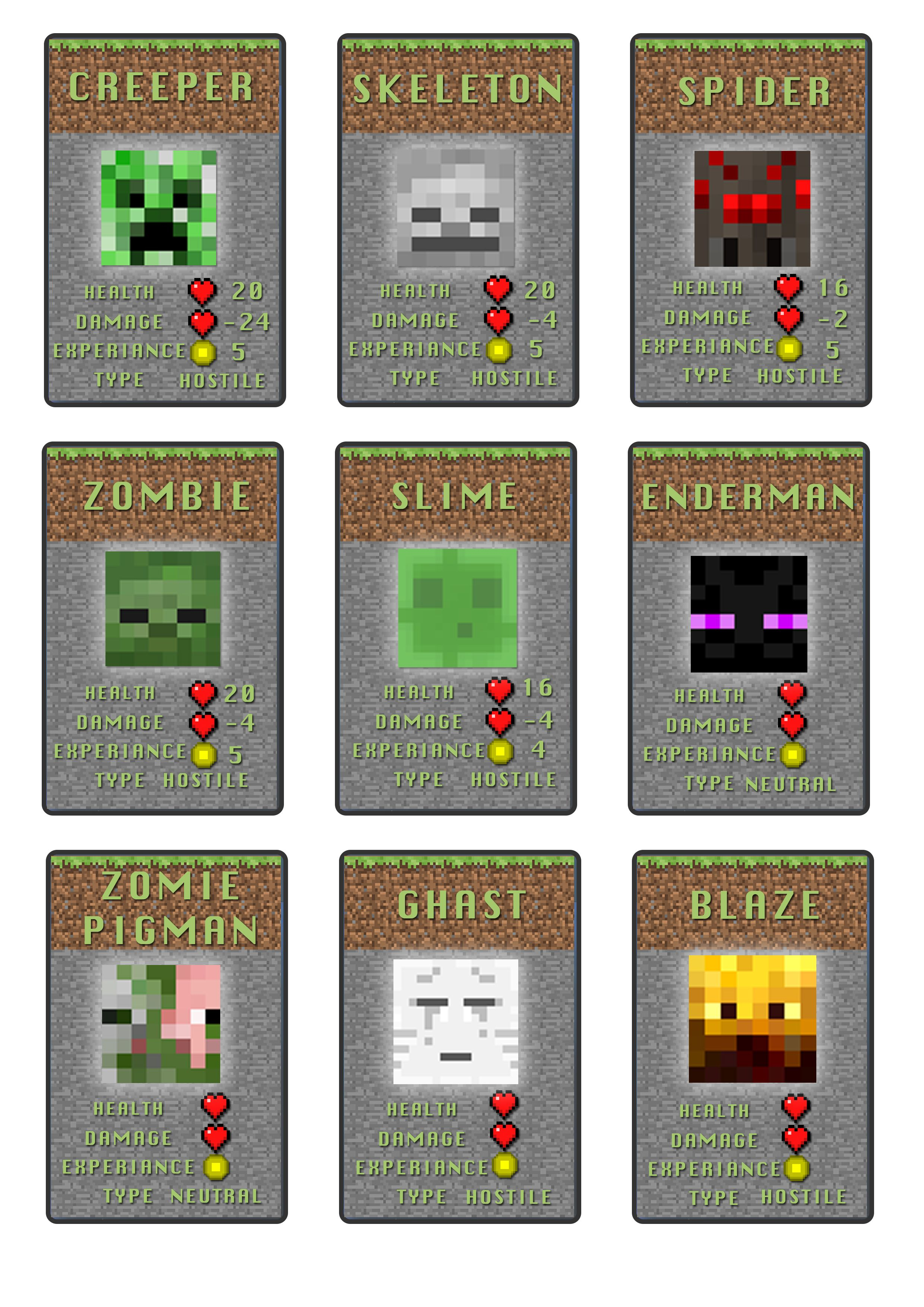 Minecraft Top Trumps ideas | Top Trump Mine Craft | Pinterest