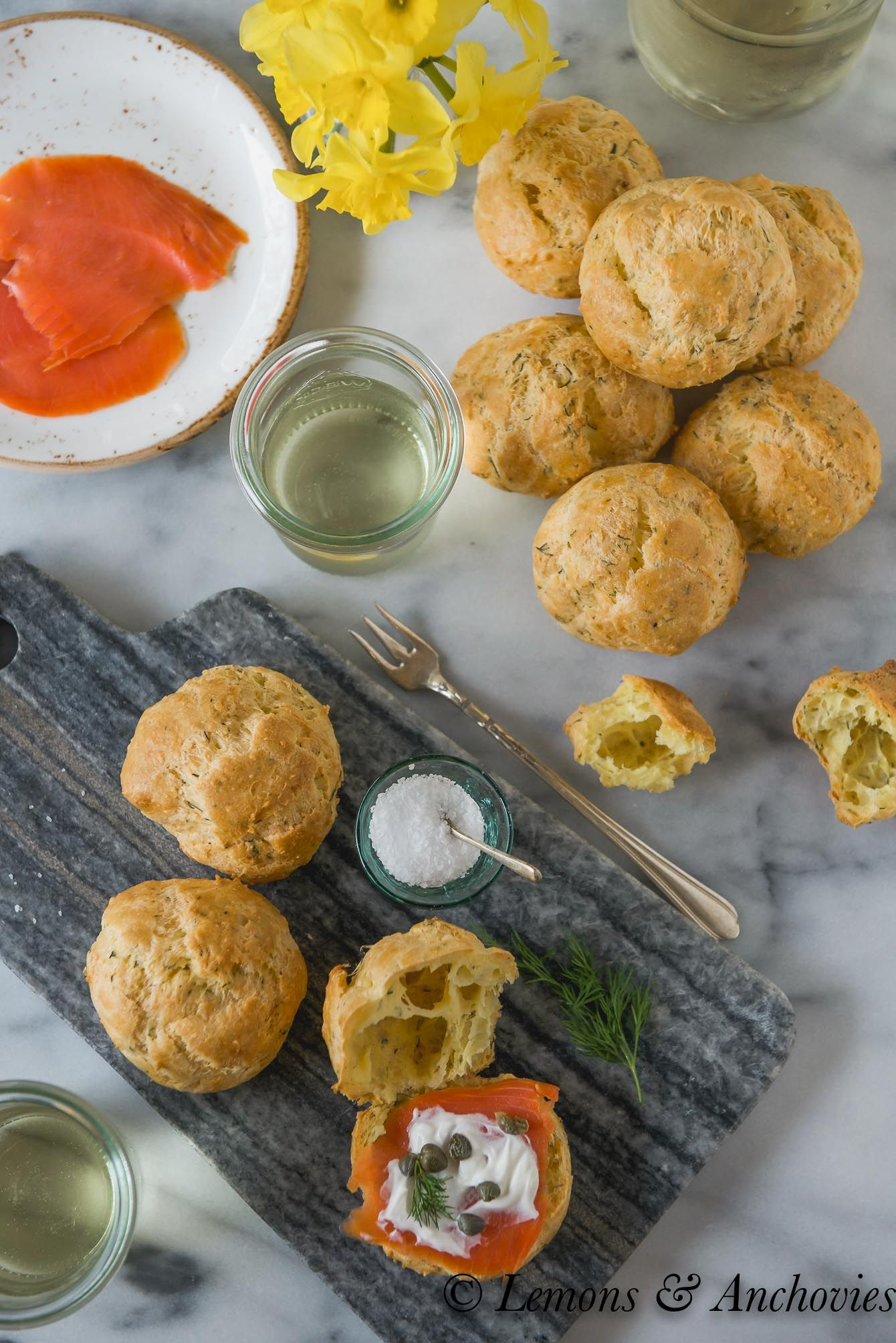 Gouda-Dill Gougères with Smoked Salmon | Lemons and Anchovies
