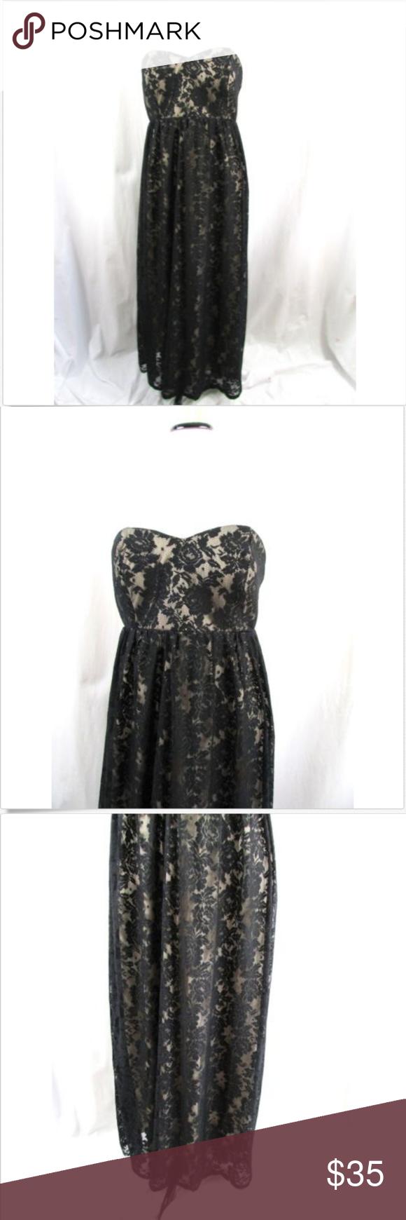 Lace dress torrid  Torrid Black Floral Lace Strapless Maxi Dress in   My Posh
