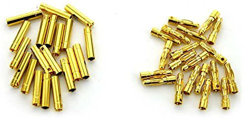 BW® 20 Pairs 4mm Gold Plated Male