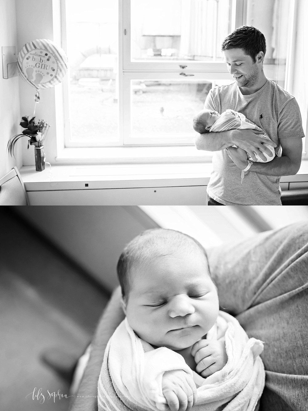 New father holding his baby girl black and white image of