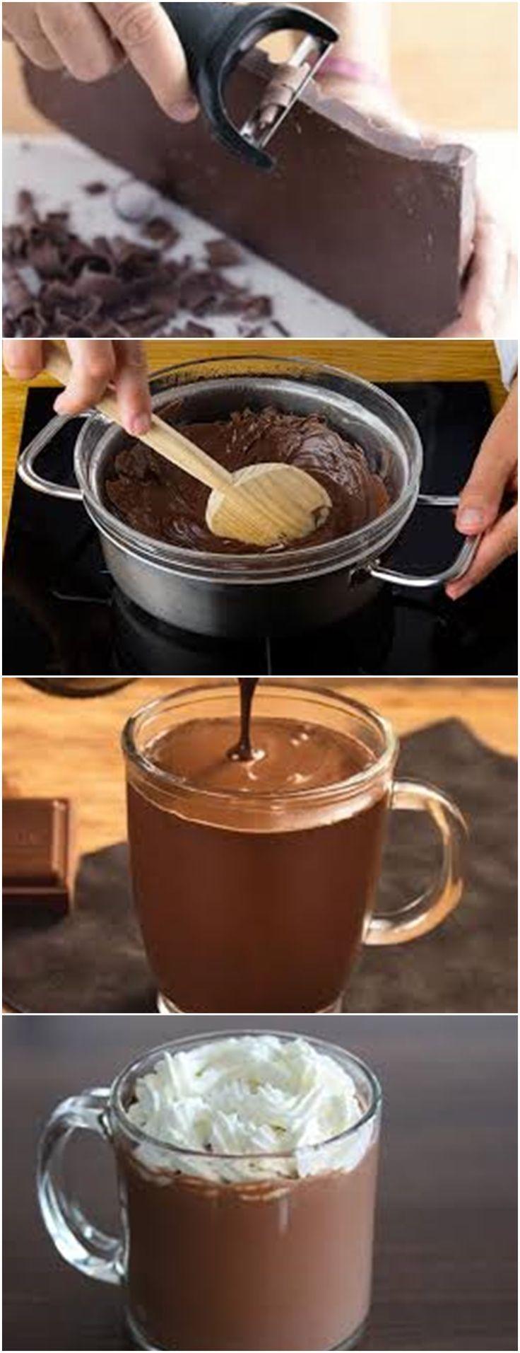 um delicioso CHOCOLATE QUENTE CREME ... VER RECEITA >>> Coloque ...   - cozinha -