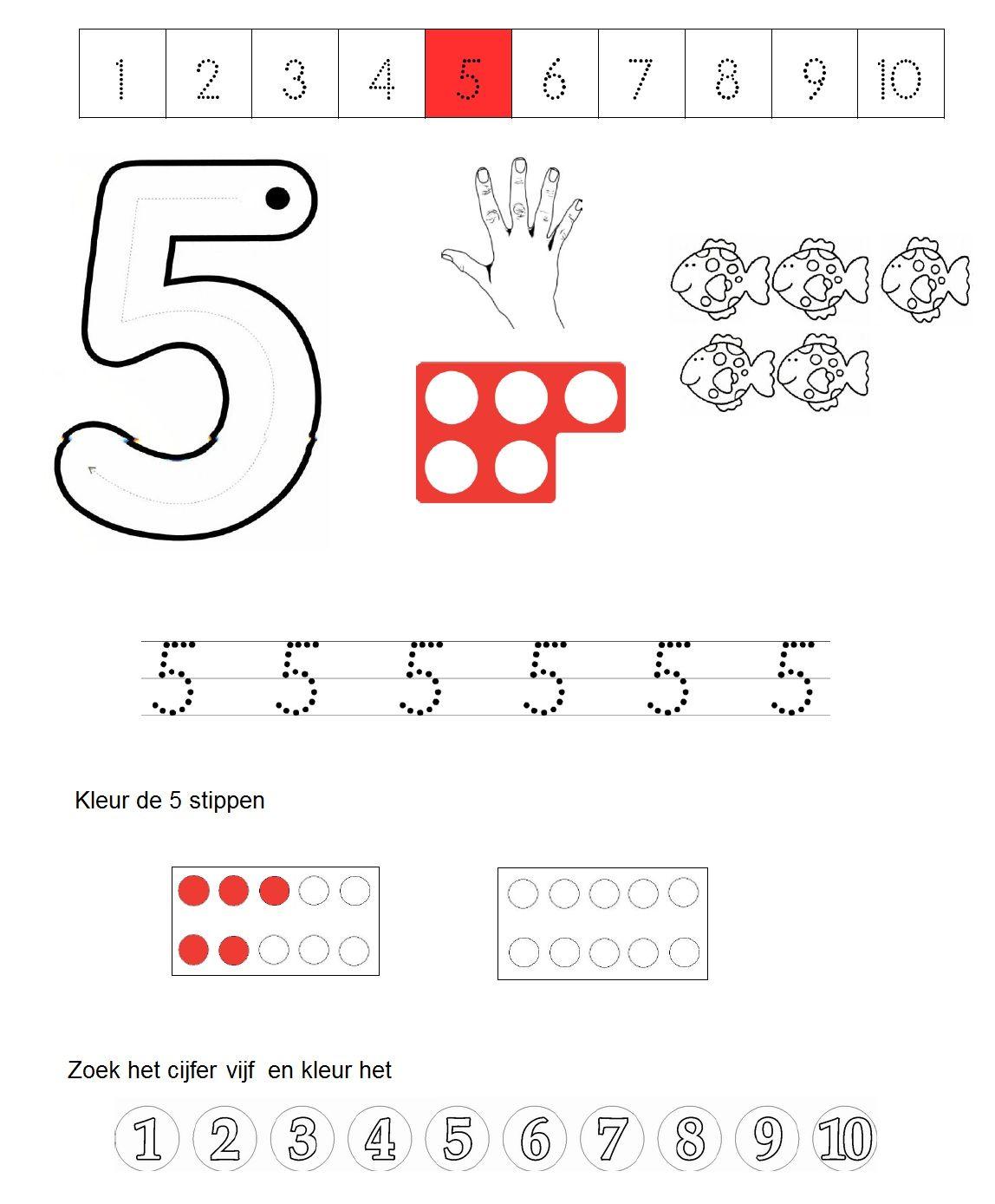 werkblad cijfer 5 | rekenen 1 tm 3 | Pinterest | Zahlen und ...