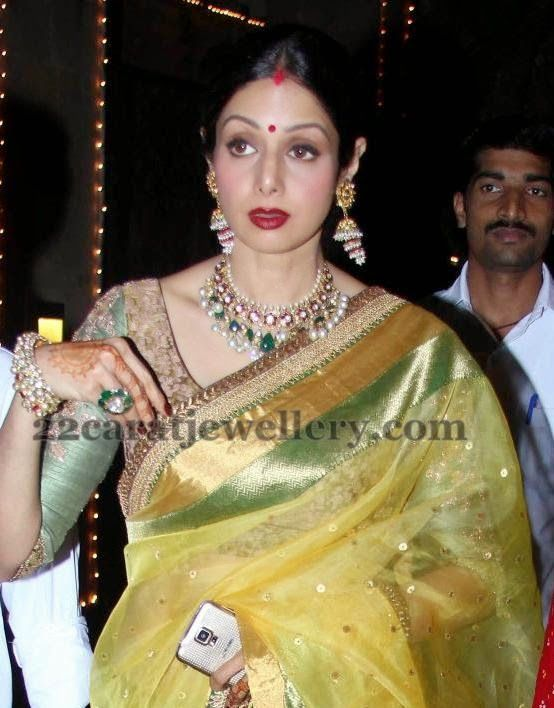 sridevi kapoor latest kundan choker diamond necklace lehenga rh pinterest com