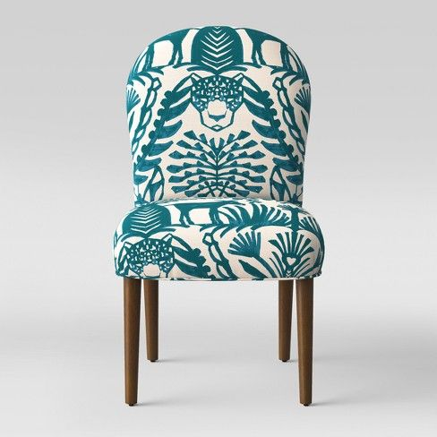 Caracara Rounded Back Dining Chair Teal Cream Animal Print