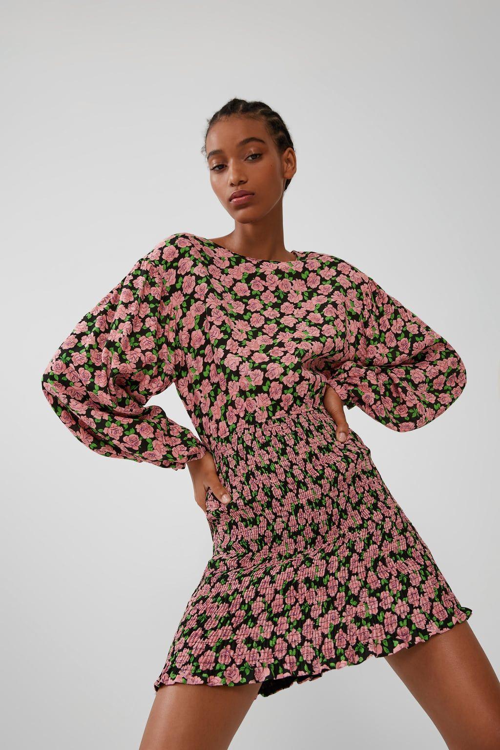Vestido Estampado Elástico Cortos Vestidos Mujer Zara España Print Dress Dresses Fashion
