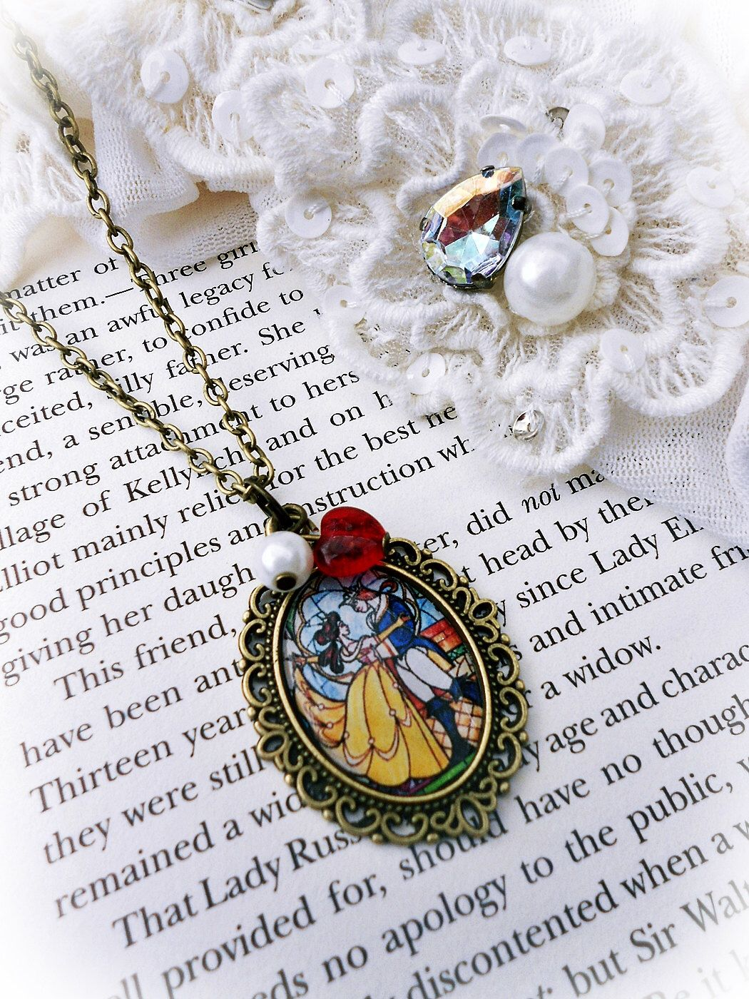 Disney S Beauty And The Beast Necklace Etsy Disney Jewelry Disney Jewelry Bracelet Cute Jewelry
