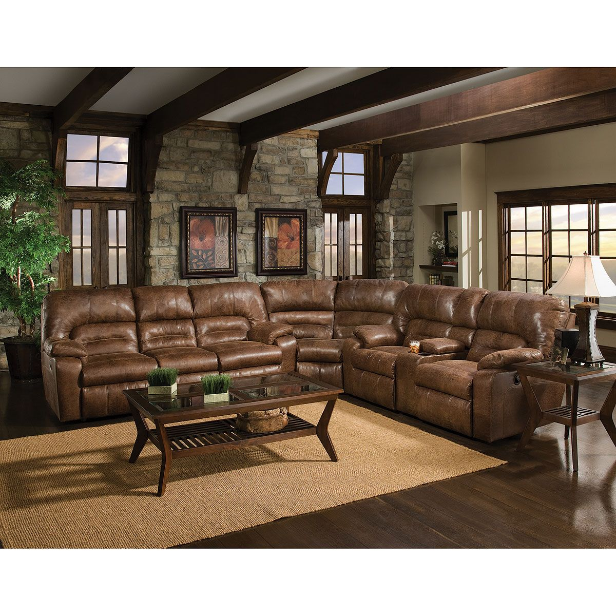 Brown Upholstered 3 Piece Sectional Luxury Furniture Stores