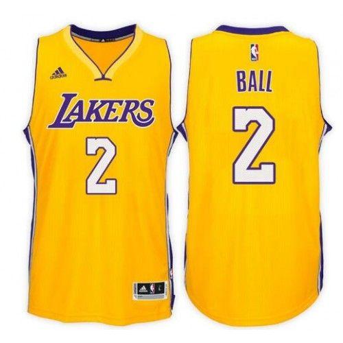 uk availability a6455 66467 Men's Los Angeles Lakers #2 Lonzo Ball Yellow Swingman ...