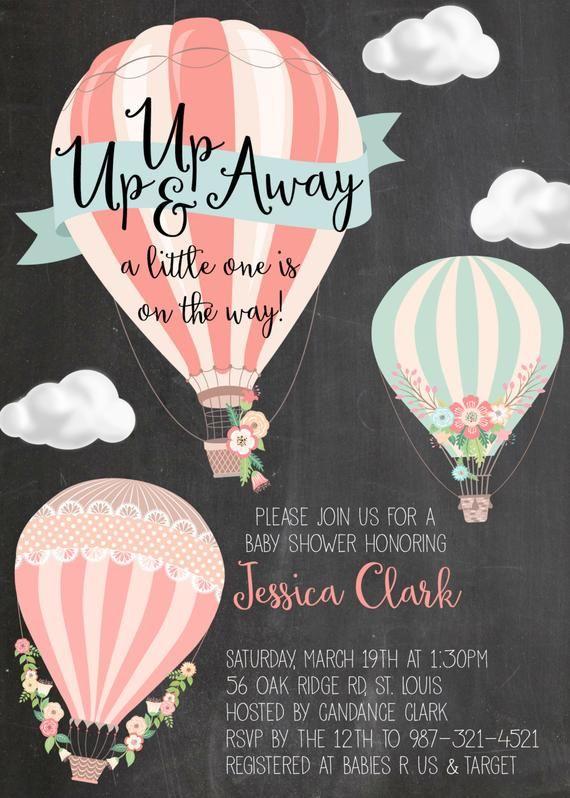 Hot Air Balloon Baby Shower or Sprinkle Invitation Digital | Etsy