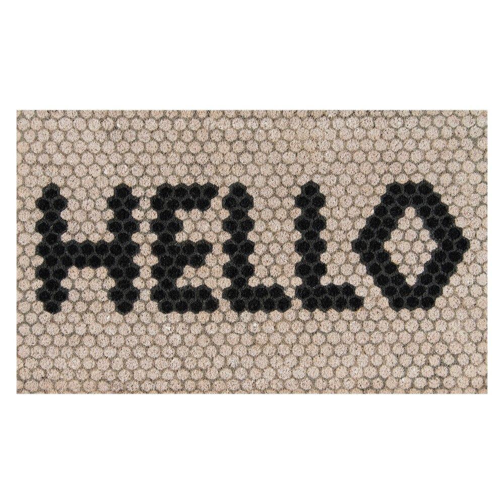 1 6 X2 6 Mosaic Design Woven Door Mat Ivory Novogratz By Momeni Door Mat Outdoor Door Mat Hex Tile