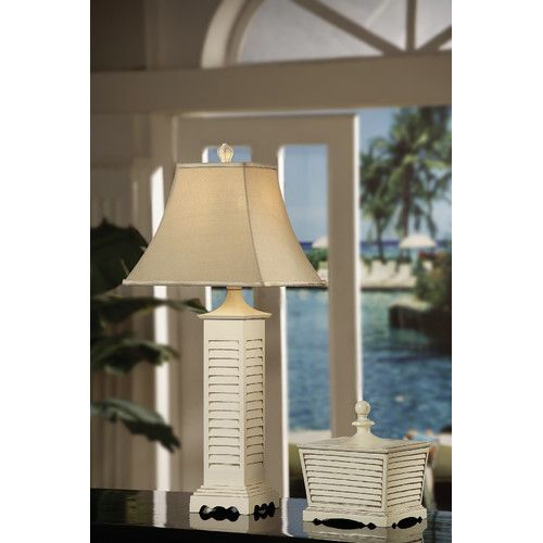 Found It At Wayfair Seaside 34 H Table Lamp With Bell Shade Table Lamp Grey Table Lamps White Shutters