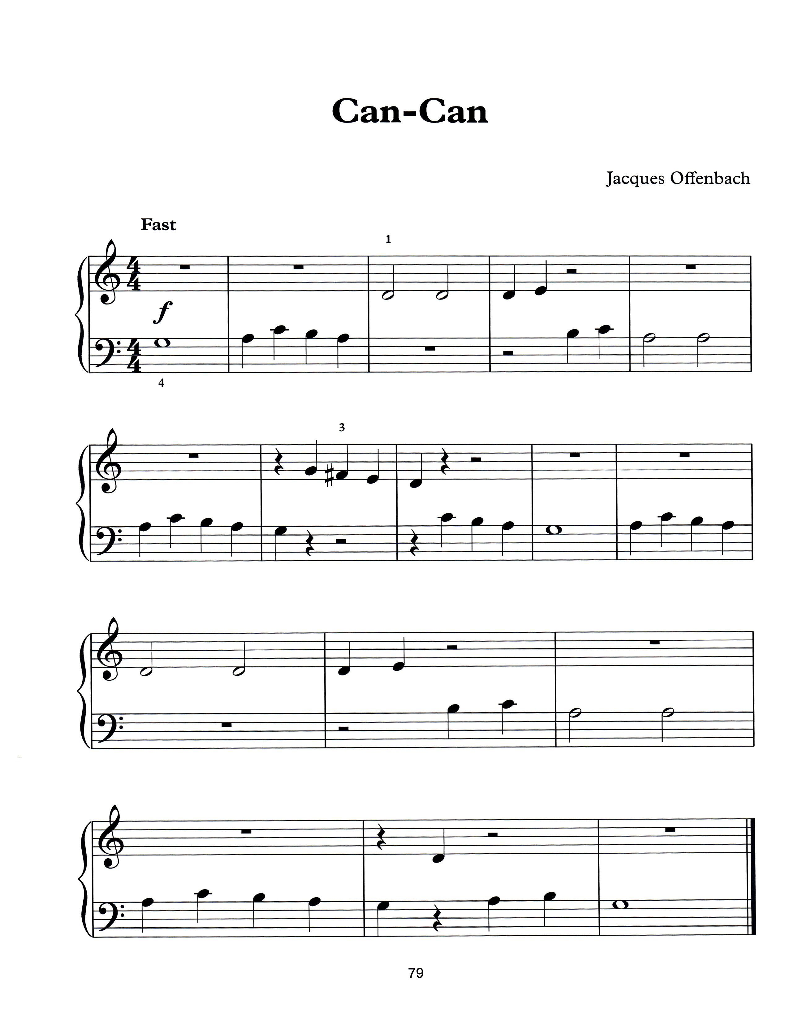 Can Can By Jaques Offenbach Free Easy Piano Sheet Music To Print
