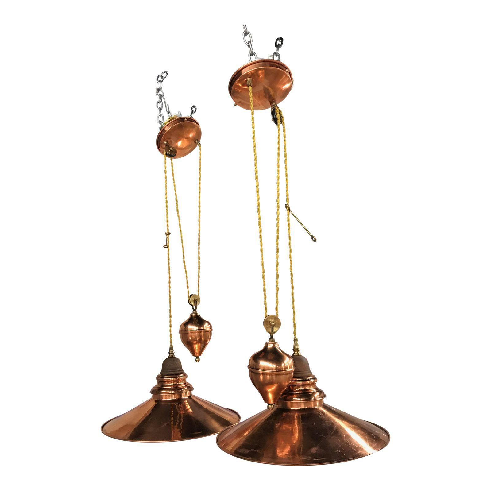 french house lighting. Copper Rise And Fall Pendant Lights - Pierre Vergnes For The French House A Pair Lighting