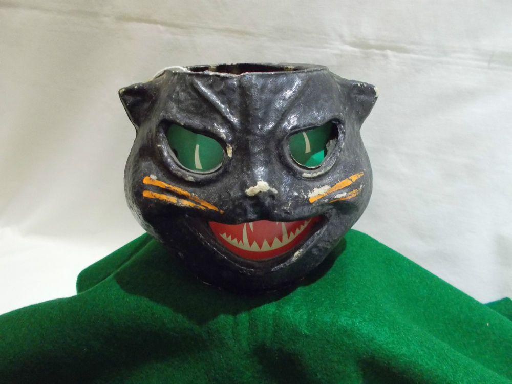 Antique Paper Mache Halloween Black Cat Head Lantern 2 Candy Container Black Cat Halloween Antique Paper Halloween Jack O Lanterns