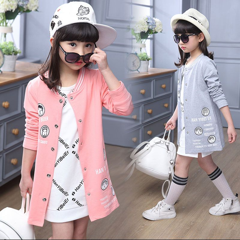 cd2fc0638 Spring toddler girls children clothing long sweater jacket baseball ...