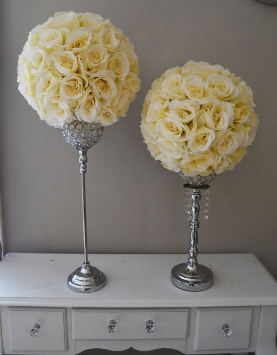 set of 2 14 ivory cream elegant wedding silk flower balls wedding rh pinterest com
