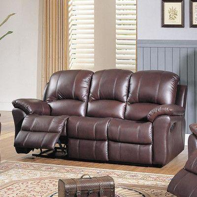 wildon home kent top grain leather reclining sofa products rh pinterest com