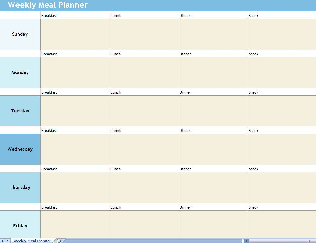 Weekly Meal Planner Template Menu Excel