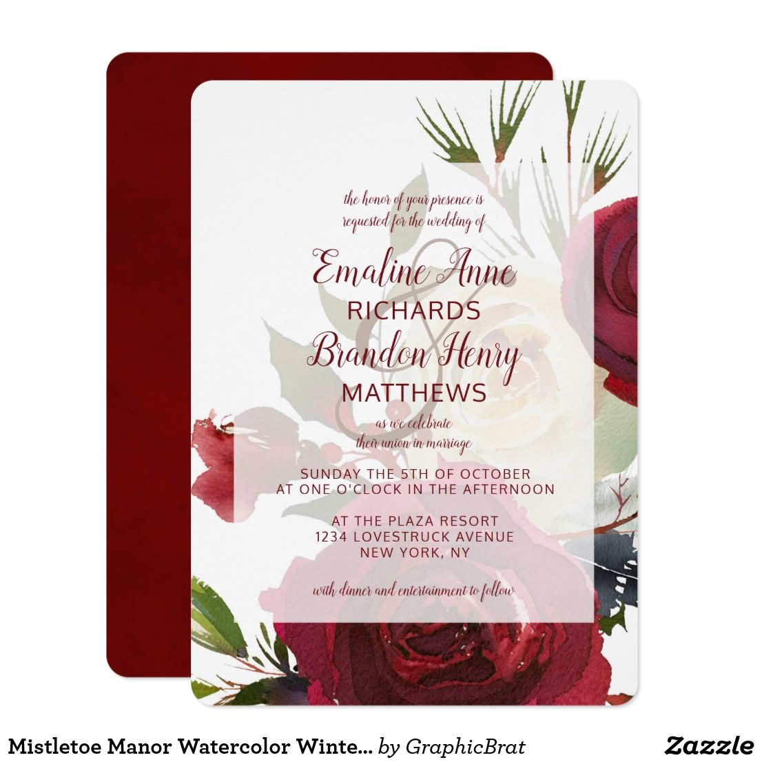Mistletoe Manor Watercolor Winter Framed Wedding Invitation | Winter ...