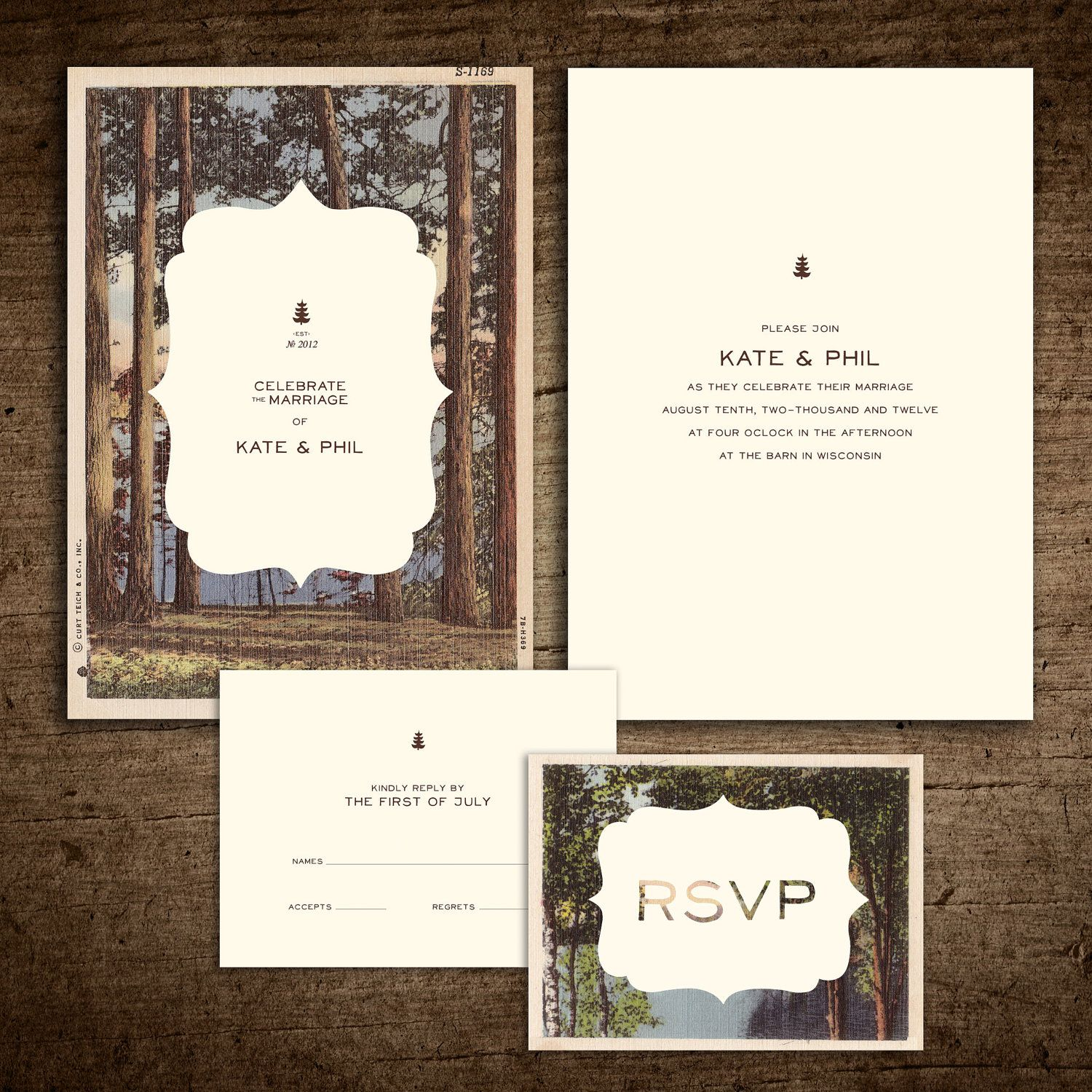 Rustic Vintage Postcard Wedding Invitation Etsy