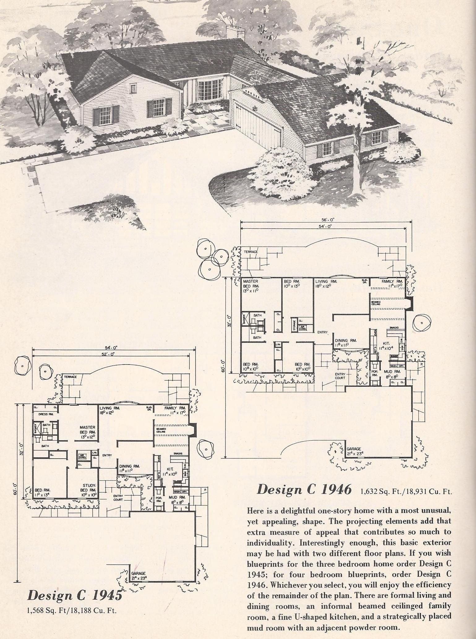 vintage house plans vintage house plans 1960s tudor l shape rh pinterest com