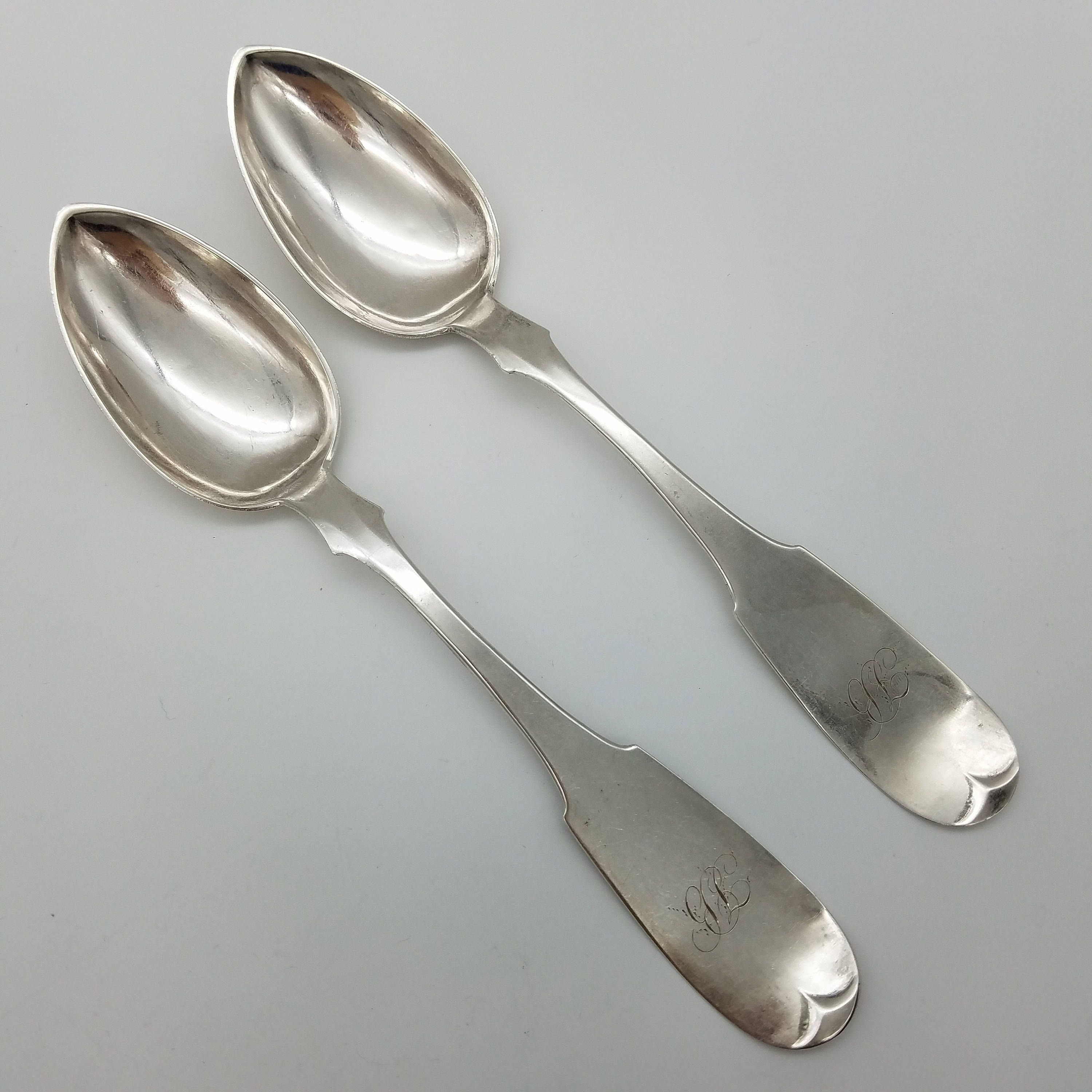 Very Rare Butler Mccarty Co Antique Coin Silver Serving Table Spoon Pattern B1m2 Circa 1850 Sold Individually By Thingsgrandmakept1 On Etsy