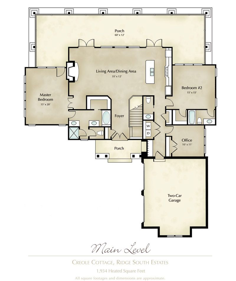 mitch ginn lake house plan for russell lands at lake martin creole cottage main - Lakehouse Plans