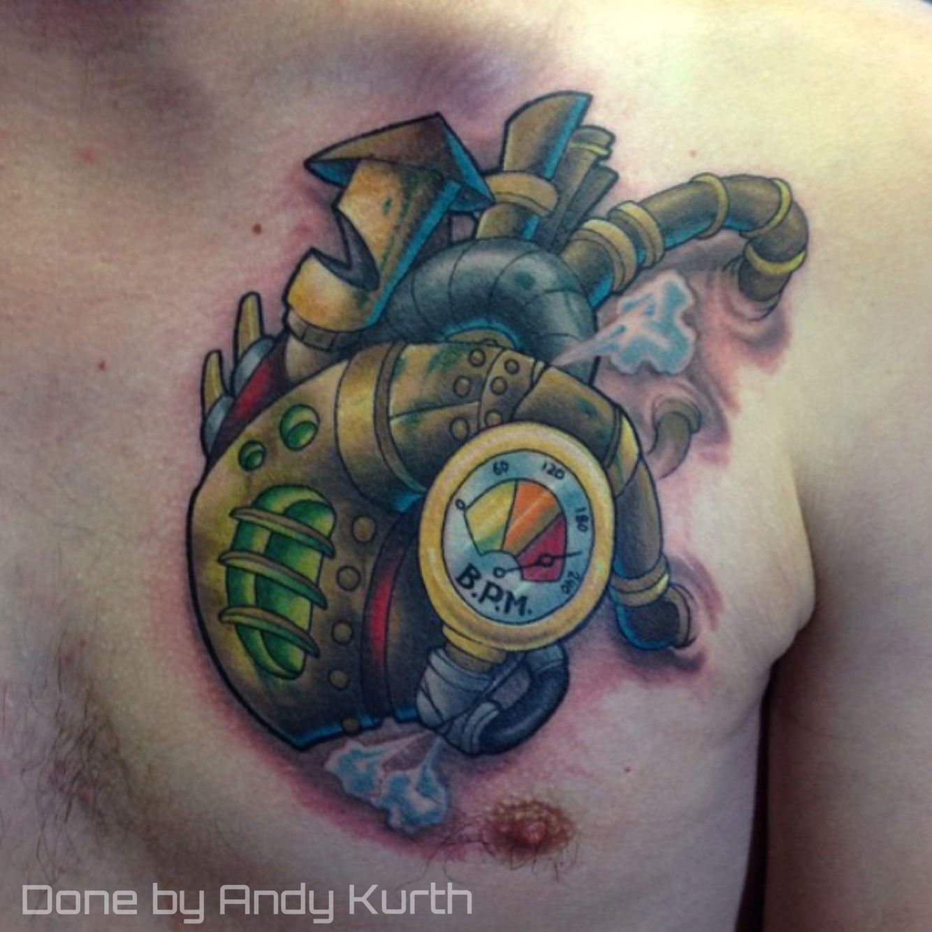 Electric chair tattoo - Steampunk Heart Done By Andy Kurth At Electric Chair Tattoo In Clio Michigan