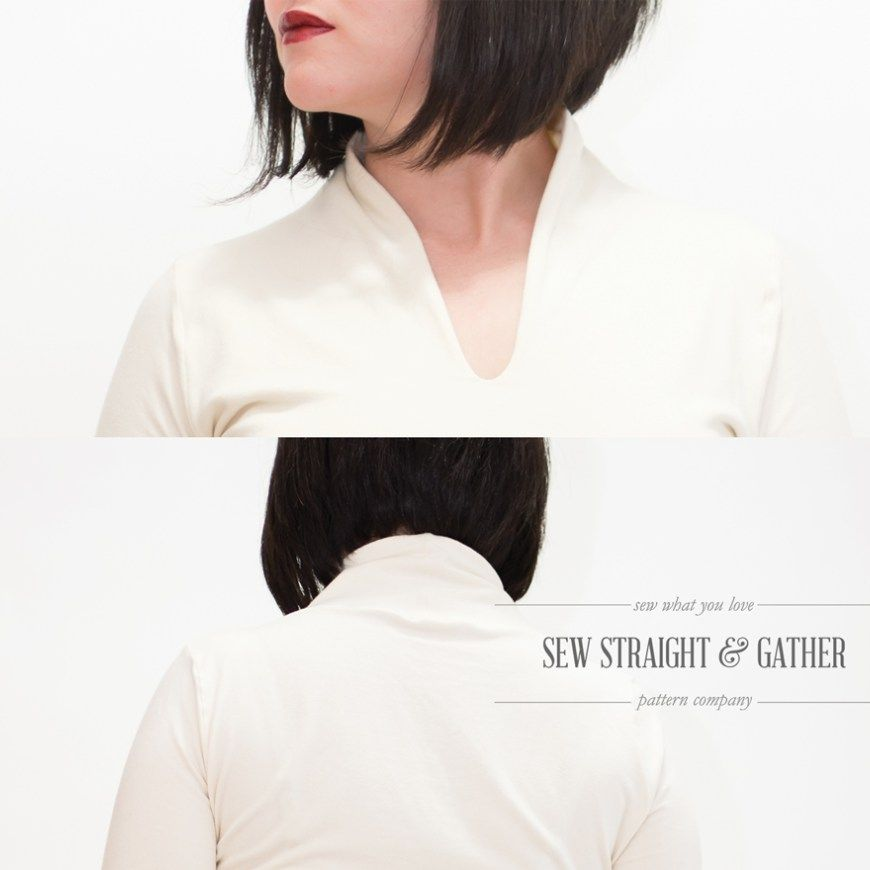 """Sizes 02 – 20  Intermediate 2.5hr Print to Hem  The sleek stand up collar and modern aesthetic of this stretch-cottontop/dress furthers the modernist vibes of a top craft–ed pattern by SewStraight and Gather. The versatility of the pattern gives it a """"wear it anywhere"""" style andsince this pattern takes only a couple hours from print to hem, you'll want to make one for yoga, work and date night.     Get The Girls Version HERE or the Bundle HERE Join the FACEBOOK GROUP to stay updated…"""